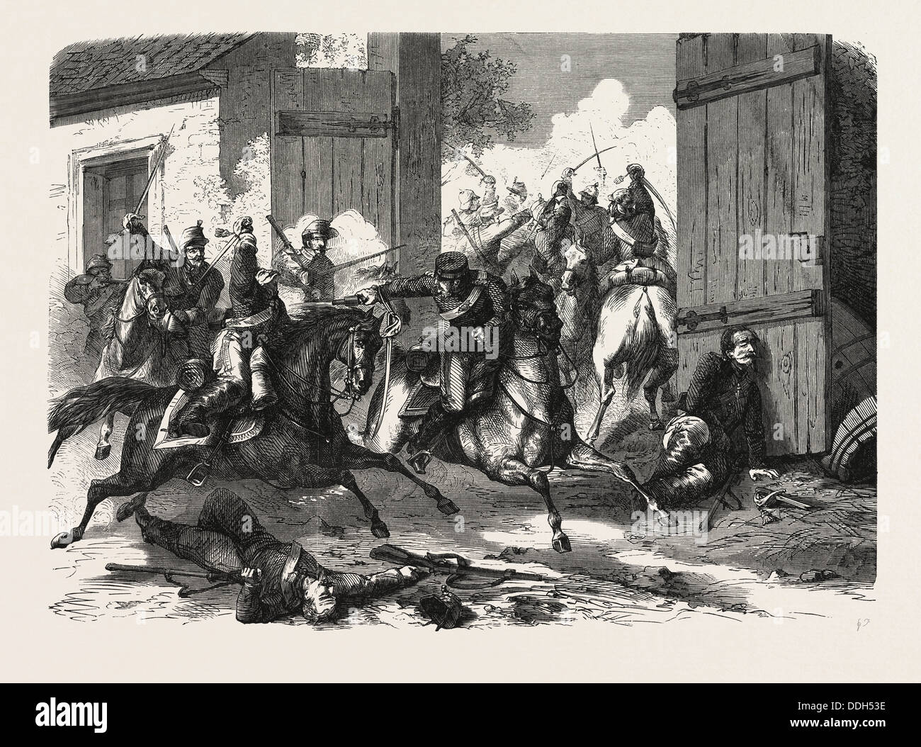 FRANCO-PRUSSIAN WAR: GERMAN CAVALRY ATTACKED BY THE FRENCH, AT NIEDERBRONN, 1870 - Stock Image