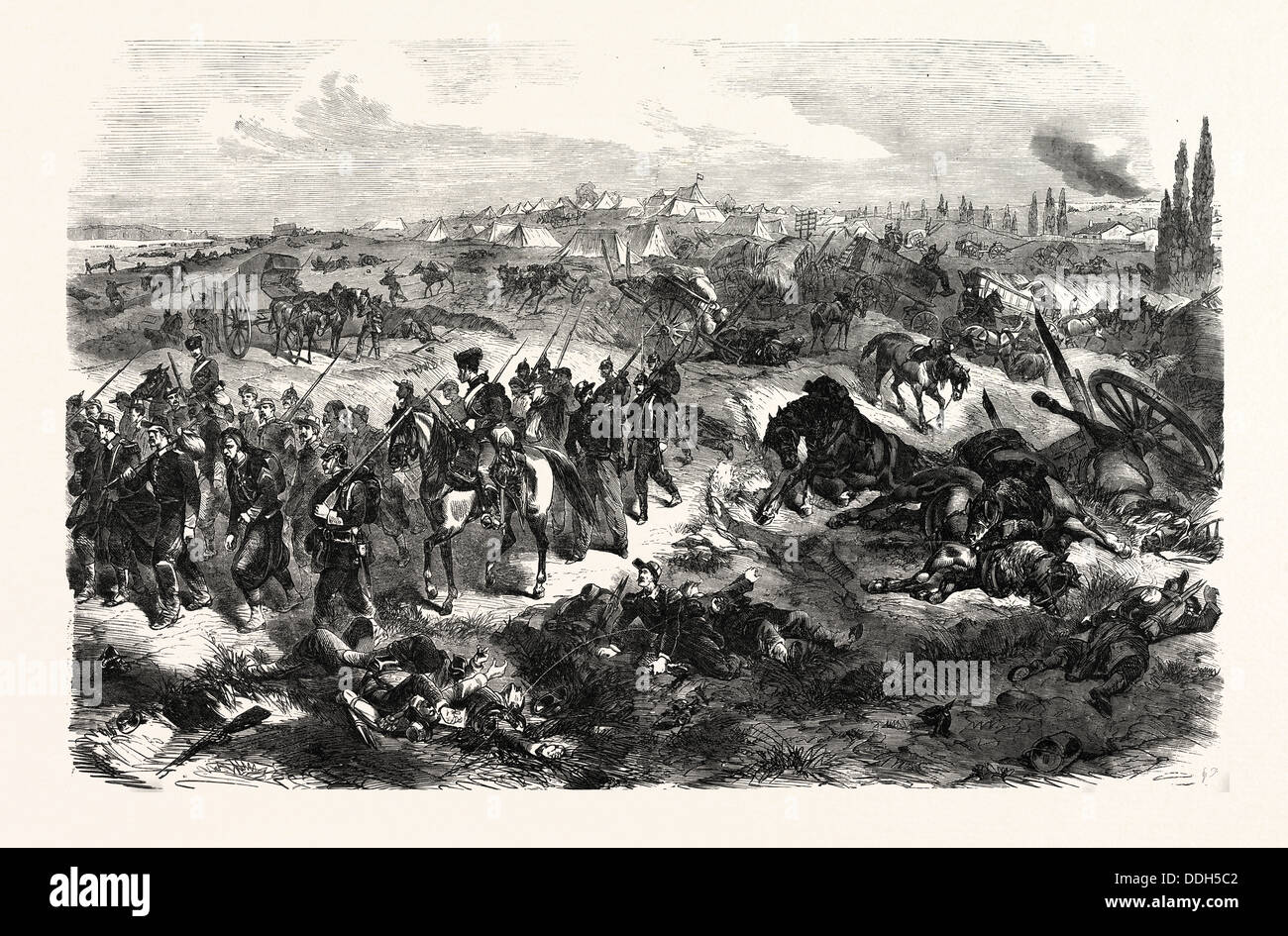 FRANCO-PRUSSIAN WAR: FRENCH CAMP NEAR BEAUMONT, TAKEN BY 4th GERMAN CORPS 20 AUGUST 1870 - Stock Image
