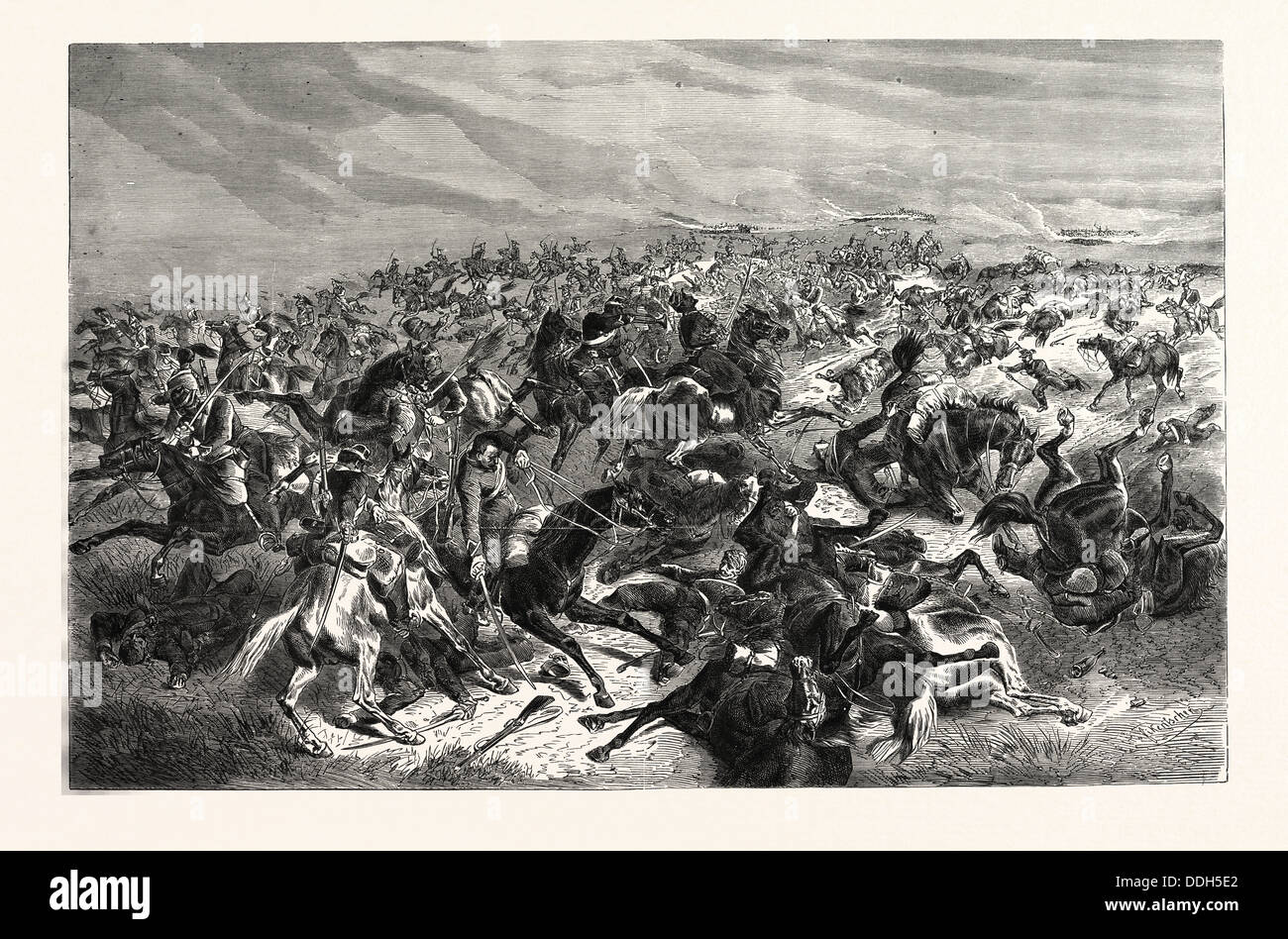 FRANCO-PRUSSIAN WAR: RAPID FIRE OF THE PRUSSIAN INFANTRY RIDERS AGAINST THE FRENCH CAVALRY, THE BATTLE OF SEDAN, Stock Photo