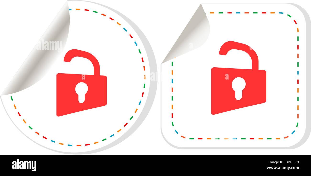 Padlock sticker label tag set. information security - Stock Image