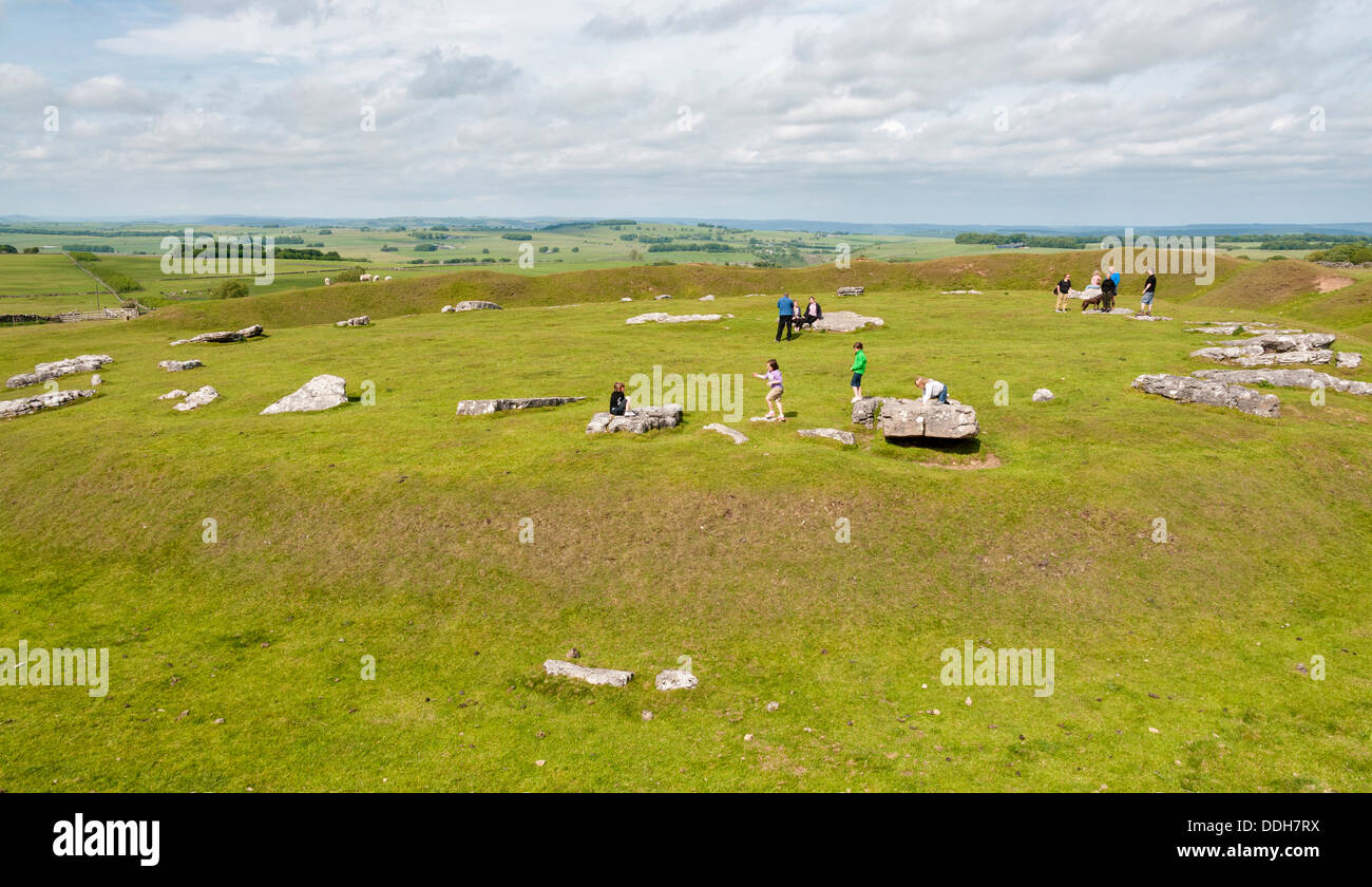 Great Britain, England, Derbyshire, Peak District, Arbor Low, Neolithic henge monument - Stock Image