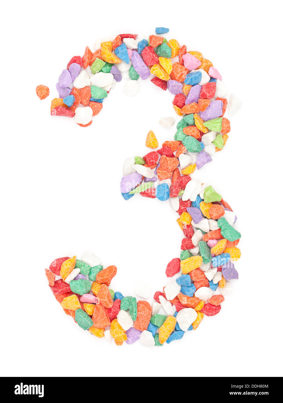 number 3 made form colour ful stone. - Stock Image