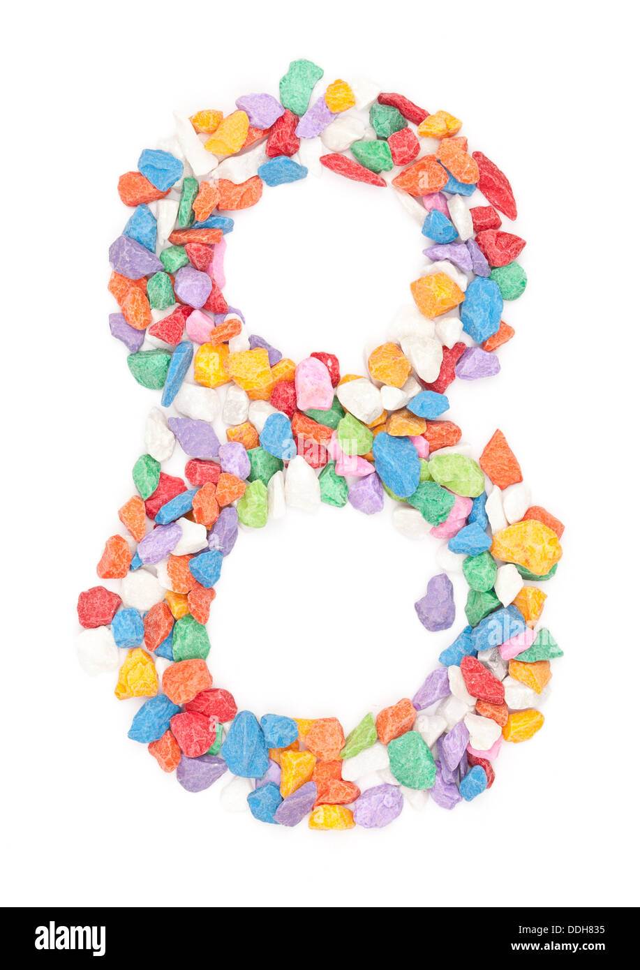 number 8 made form colour ful stone. - Stock Image