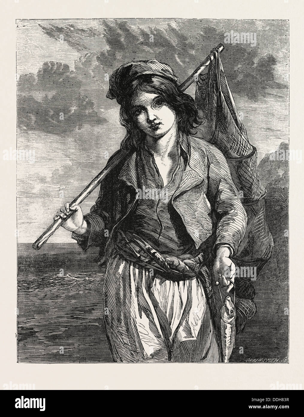 A NEAPOLITAN FISHER BOY. PAINTED BY G.F. HURLSTONE. EXHIBITION OF THE SOCIETY OF BRITISH ARTISTS IN SUFFOLK STREET, LONDON, UK - Stock Image