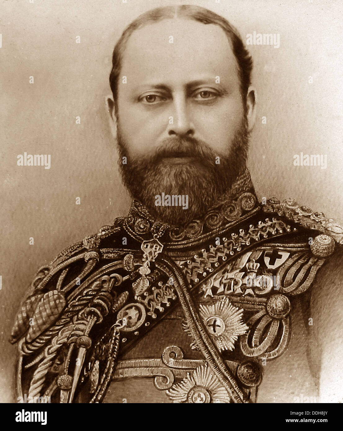 King Edward VII portrait early 1900s - Stock Image