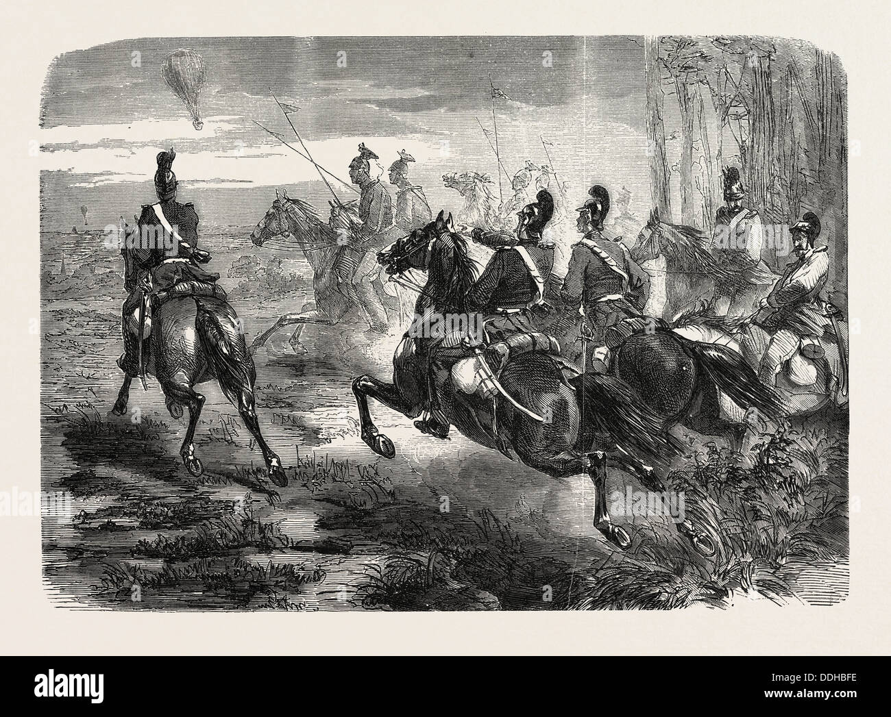 FRANCO-PRUSSIAN WAR: LIGHT BAVARIAN CAVALRY PURSUING A FRENCH MAIL BALLOON - Stock Image