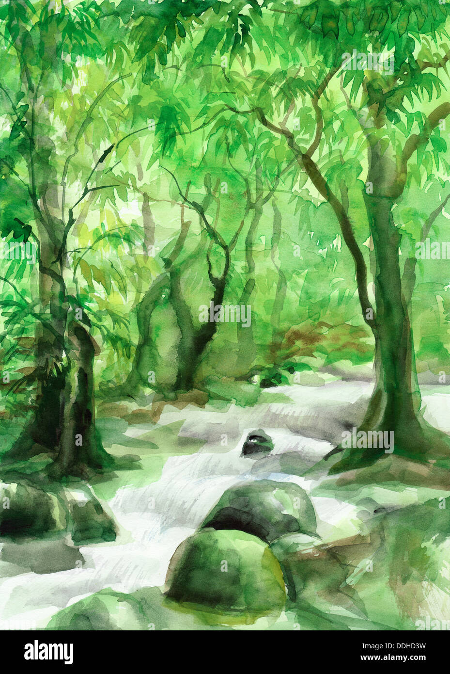 watercolor painting of green forest with a creek by veronika stock photo alamy https www alamy com watercolor painting of green forest with a creek by veronika surovtseva image60005117 html