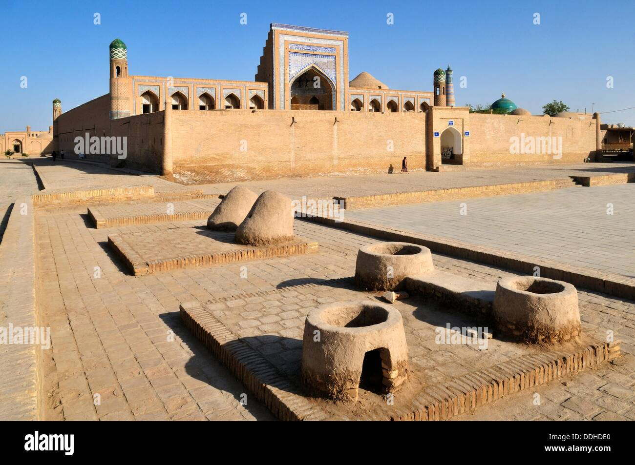 Muhammad Rakhim Chan Madrassah, Ichan Kala, historic adobe oldtown of Khiva, Chiva, Silk Road, Unesco World Heritage Site, - Stock Image