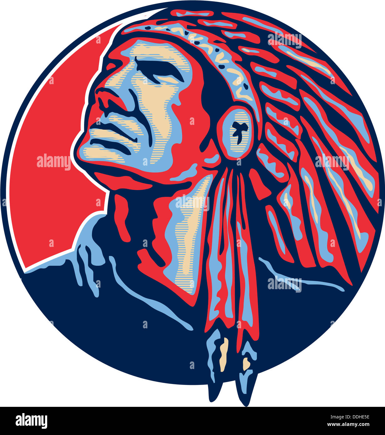 Illustration of a native american indian chief looking up with headdress set inside circle on isolated white background. - Stock Image