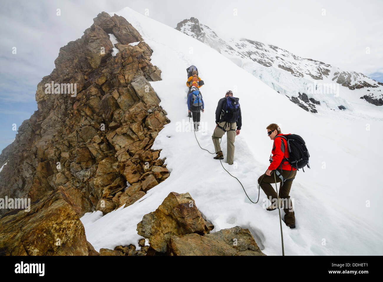 Climbers on the ridge of the Jungfraujoch, near Grindelwald Switzerland, with the south-west ridge of the Monch behind - Stock Image