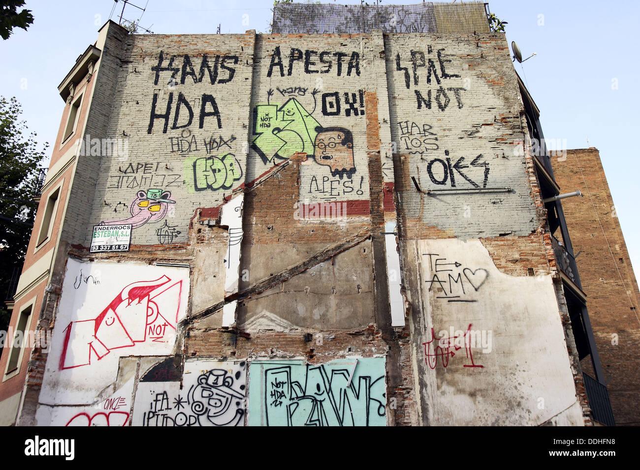 Demolished house wall, Barcelona. Catalonia, Spain - Stock Image