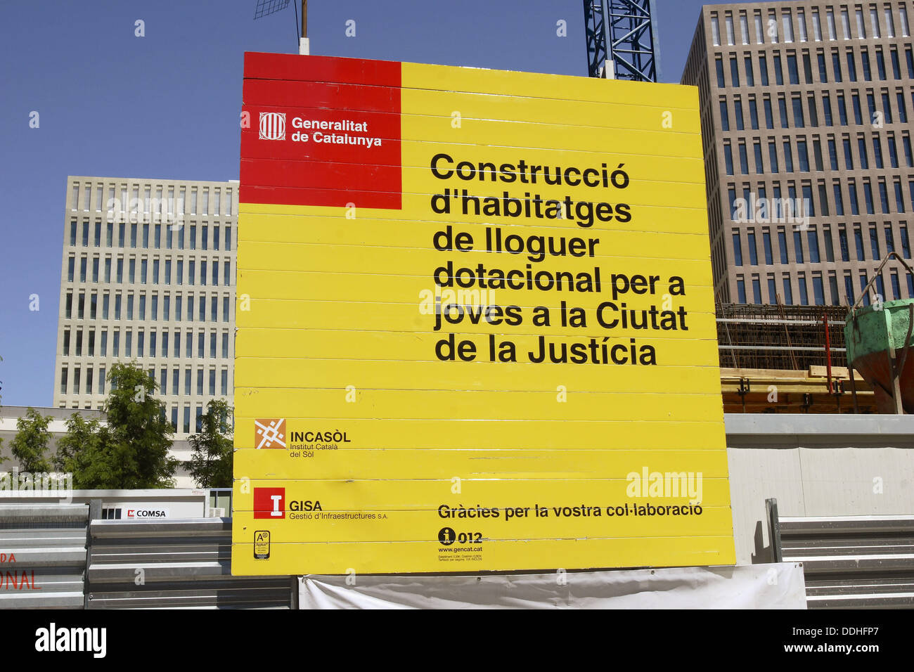 Rental housing under construction sign, Ciutat de la Justicia, Barcelona, Catalonia, Spain Stock Photo