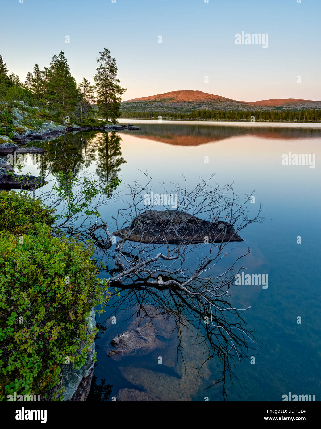 Lake at sunrise, Dalarna, Sweden - Stock Image