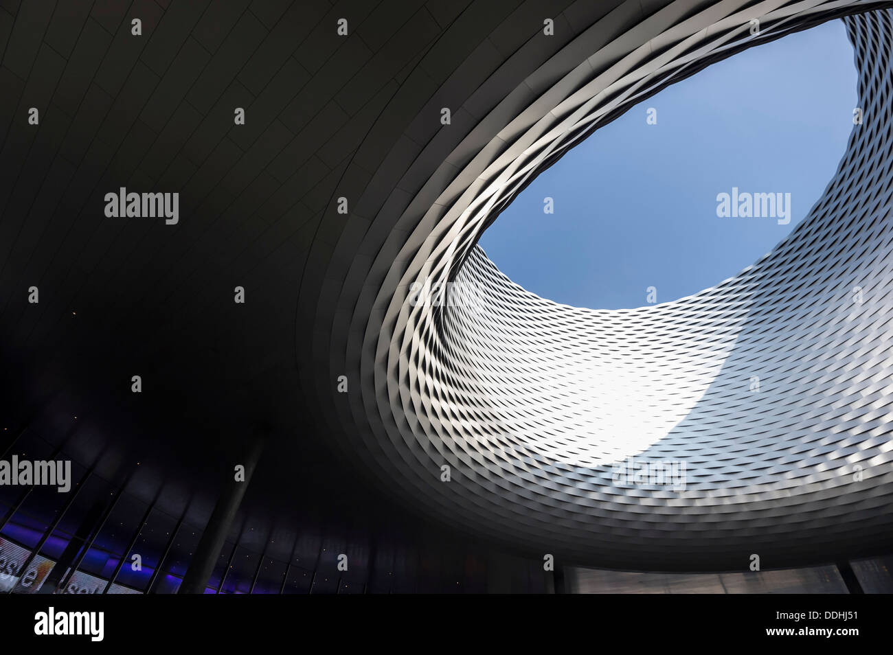 Hall ceiling, modern architecture, new construction of Messe Basel trade fair by architects Herzog and de Meuron - Stock Image