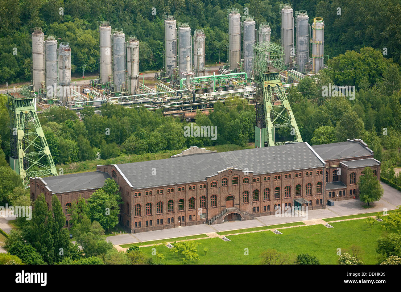 Aerial view, Zweckel machine hall, headframes of the former Zweckel colliery, Pit 2 - Stock Image