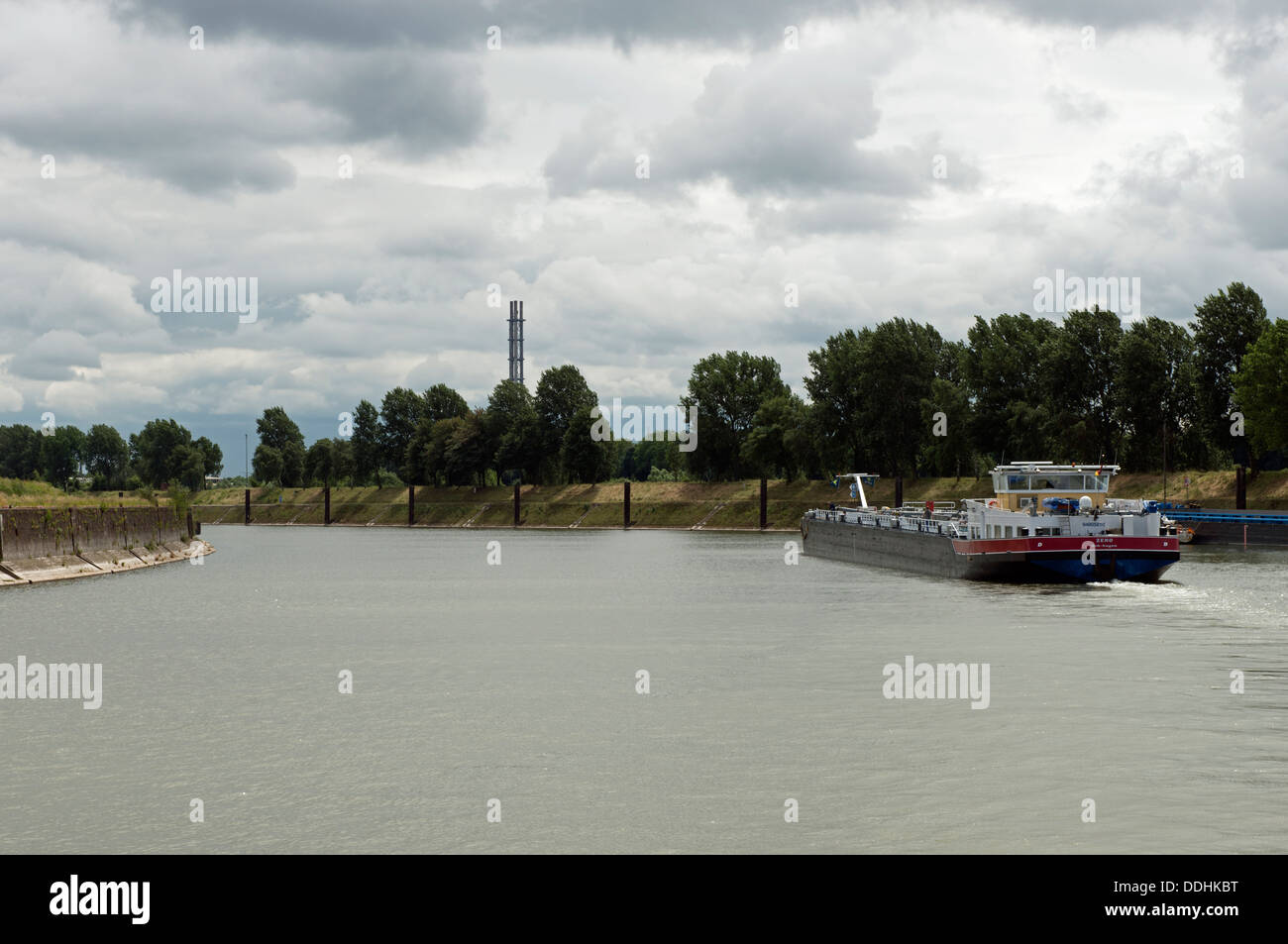 Oil-tanker barge on the river Ruhr, Duisburg, Germany. - Stock Image