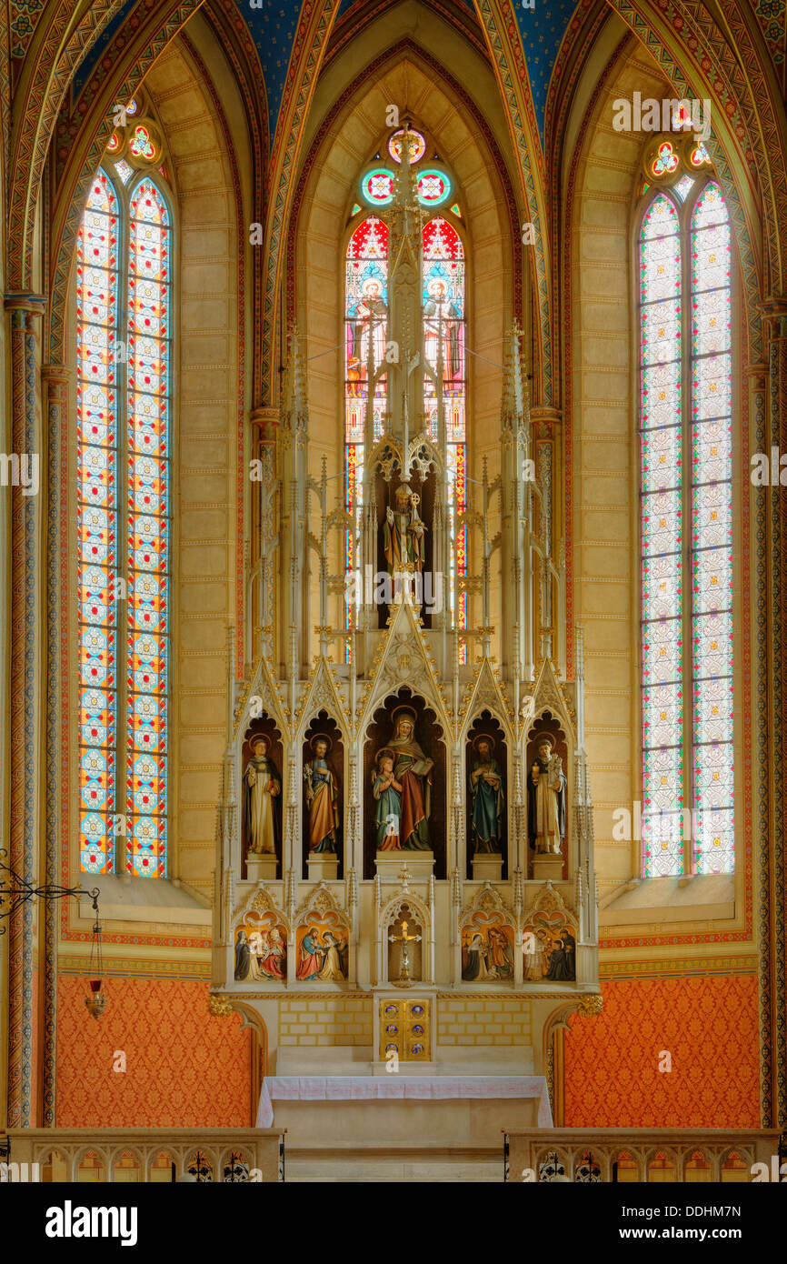 Neo-Gothic high altar, Friesach Dominican church or church of St. Nicholas - Stock Image