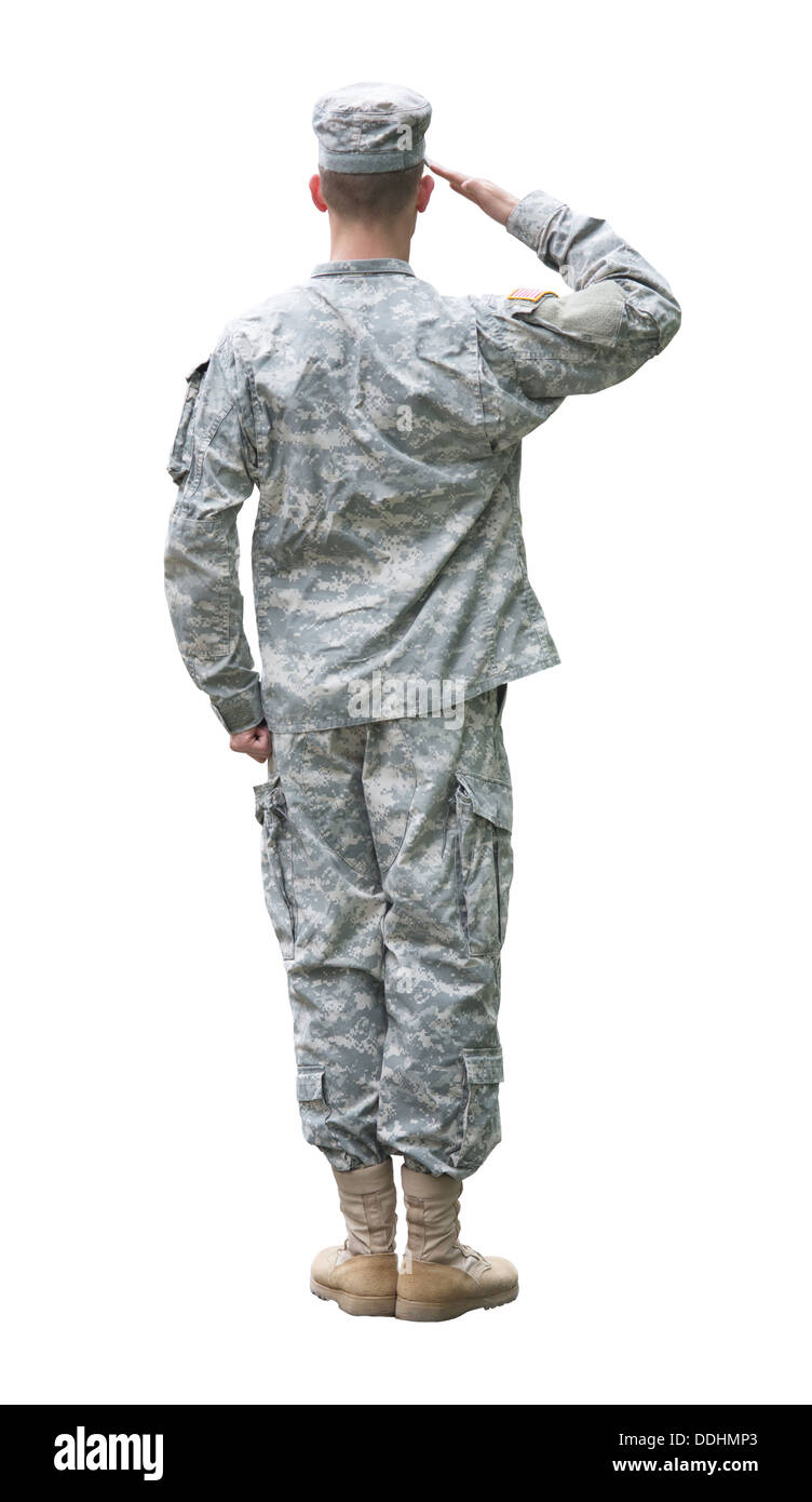 US Army soldier in Saluting position. Back view, isolated on white background - Stock Image