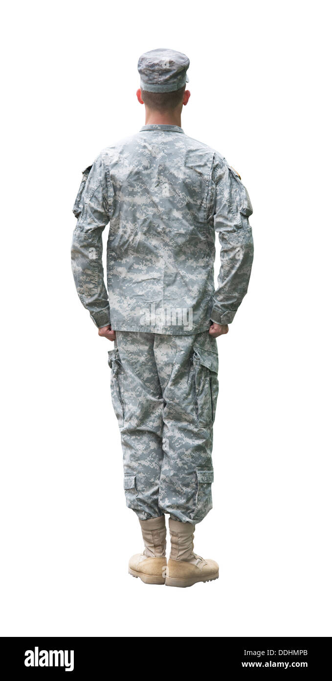 US Army soldier in Attention position. Back view, isolated on white background - Stock Image