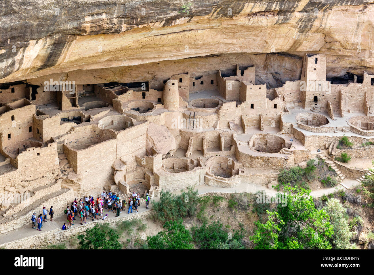 Group of tourists visiting the Cliff Palace, ancient Anasazi pueblo dwellings, Mesa Verde National Park, Cortez, USA - Stock Image