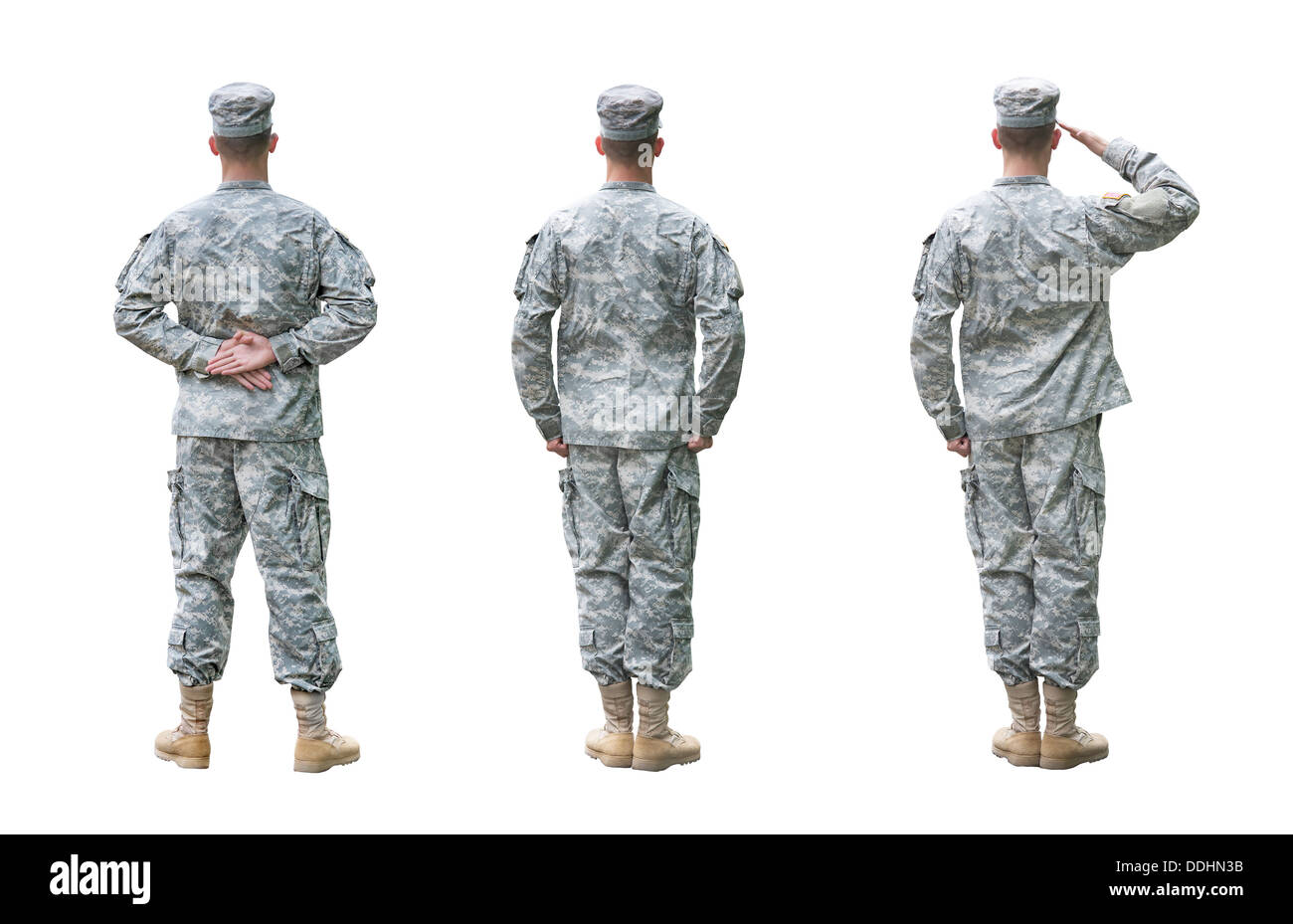 US Army soldier in three positions; Parade rest, Attention, Saluting. Back view, isolated on white background - Stock Image