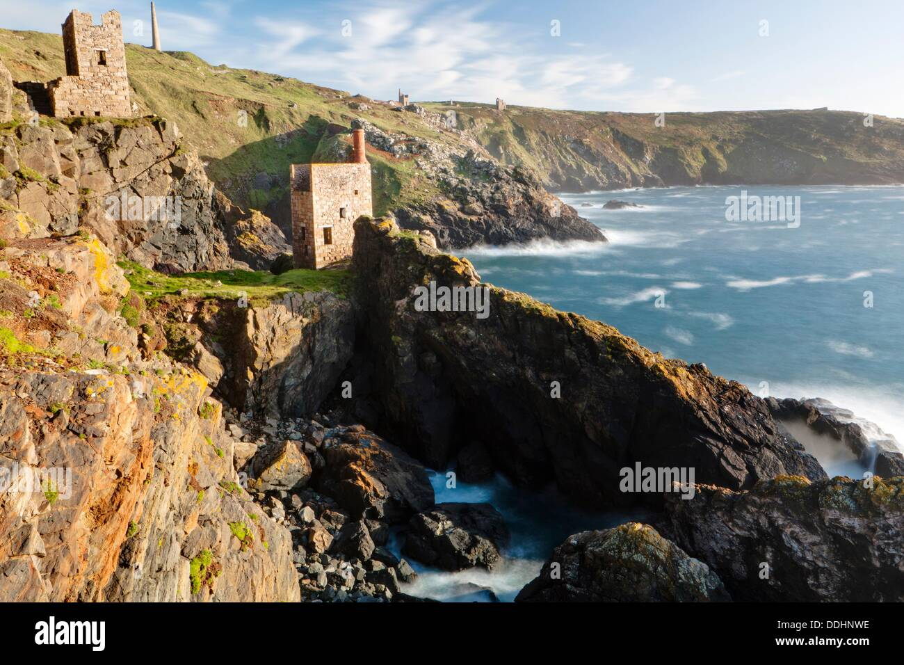 Crown Mine engine houses at Botallack, Cornwall, UK, Europe, The lower of the two engine houses was built in 1835 to pump water - Stock Image