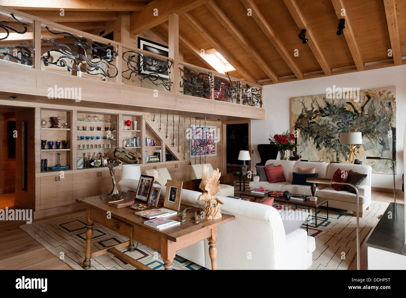 Swiss Chalet with interior designed by Tino Zervudachi Gstaad - Stock Image & Swiss Chalet Interior Stock Photos \u0026 Swiss Chalet Interior Stock ...