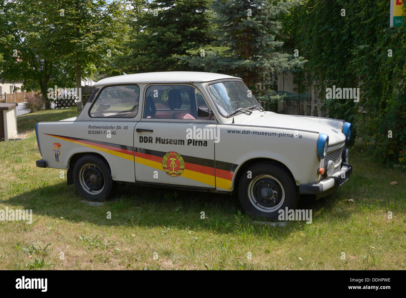 Trabant 601, plastered with advertisements for the DDR Museum Pirna - Stock Image