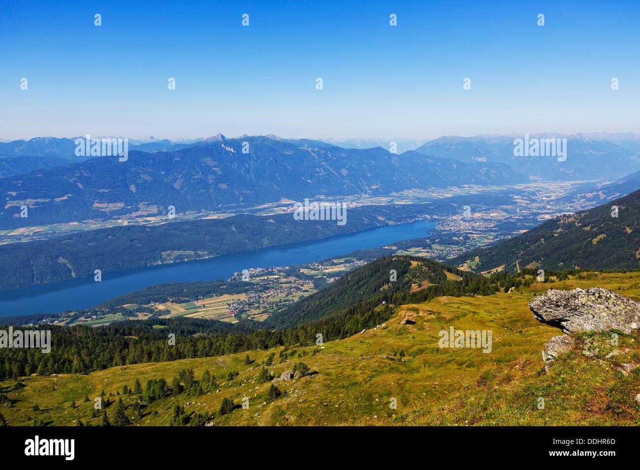 View from the Millstatt Alps over Lake Millstatt - Stock Image