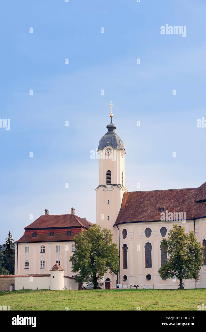 Wies Church or the Pilgrimage Church of the Scourged Saviour in the Meadow - Stock Image