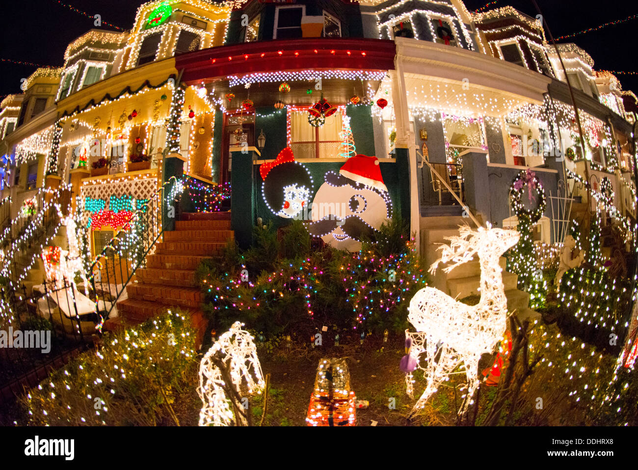 34th street lights in hampden baltimore stock image - Baltimore 34th Street Christmas Lights