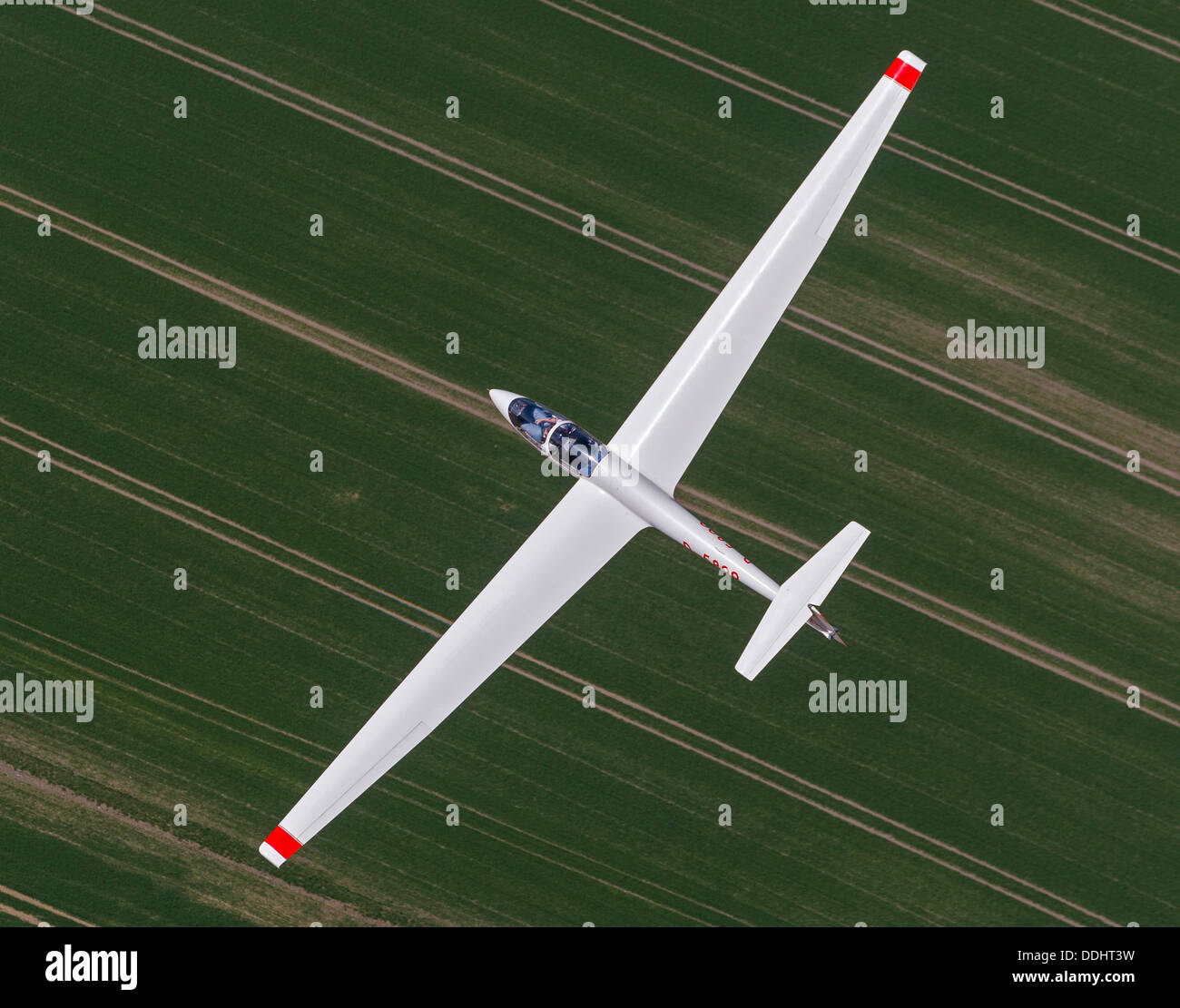 ASK 21 training glider, aerial view - Stock Image