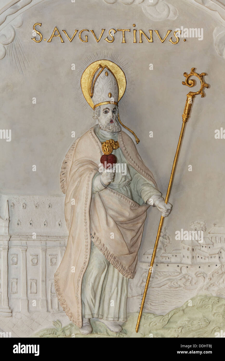 St. Augustine, stucco relief, early baroque, Church of St Andreas - Stock Image