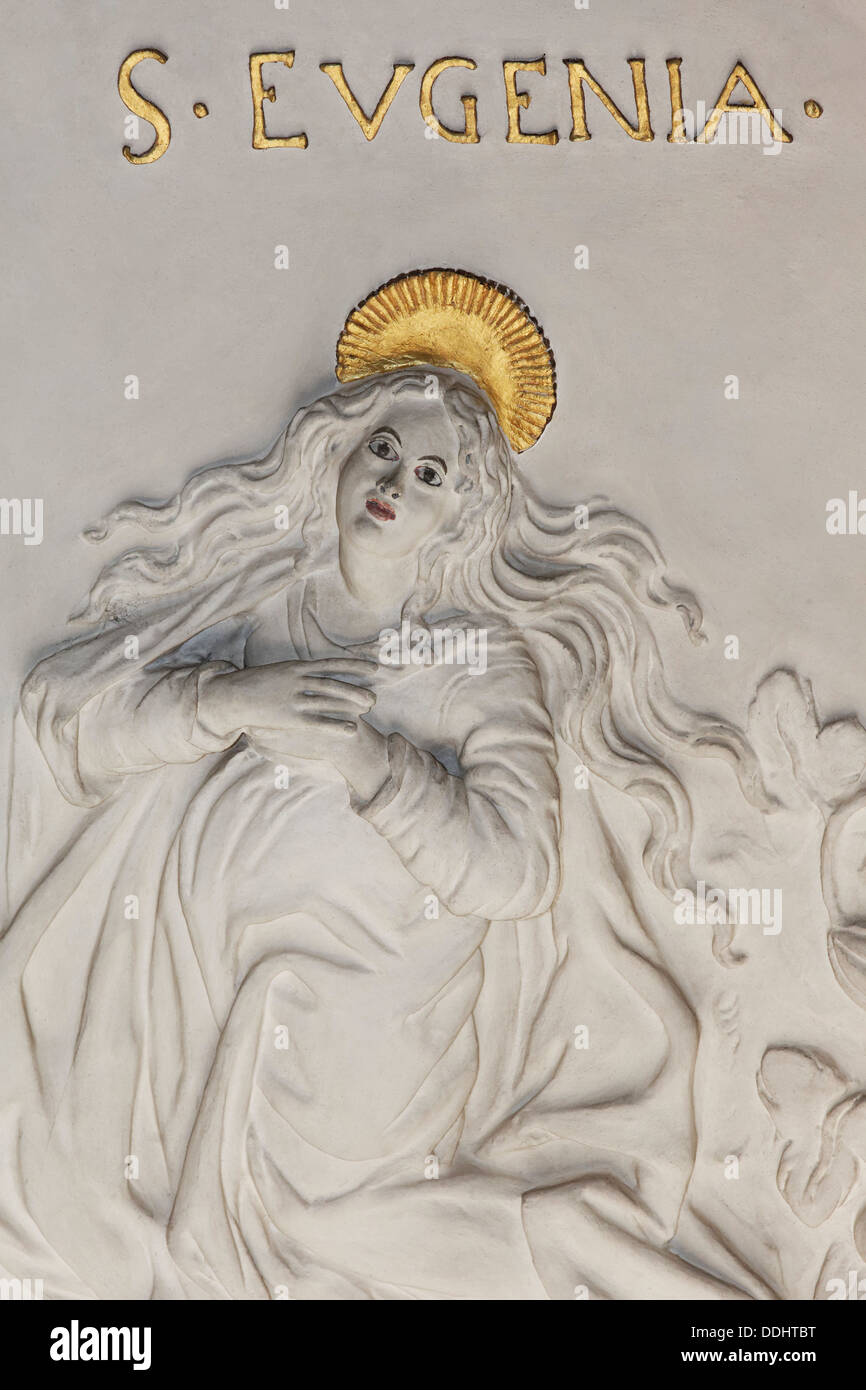 St. Eugenia, martyr, stucco relief, early baroque, Church of St Andreas - Stock Image