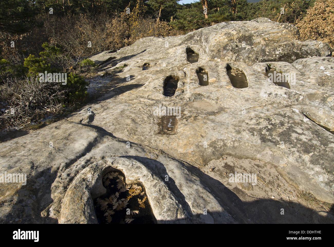 Cuyacabras High Middle Ages necropolis, Quintanar de la Sierra. Burgos province, Castilla-Leon, Spain Stock Photo