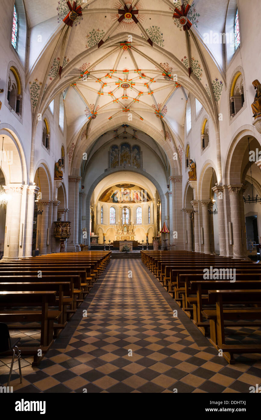 Nave with a Gothic stellar vault of the Basilica of St. Castor, masterpiece of Romanesque architecture on the Middle Stock Photo