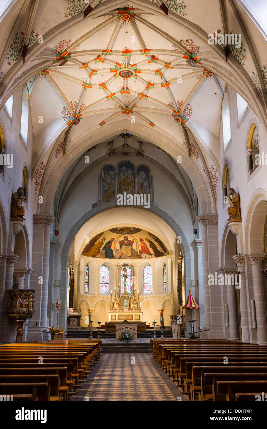 Nave with a Gothic stellar vault of the Basilica of St. Castor, masterpiece of Romanesque architecture on the Middle Rhine, - Stock Image