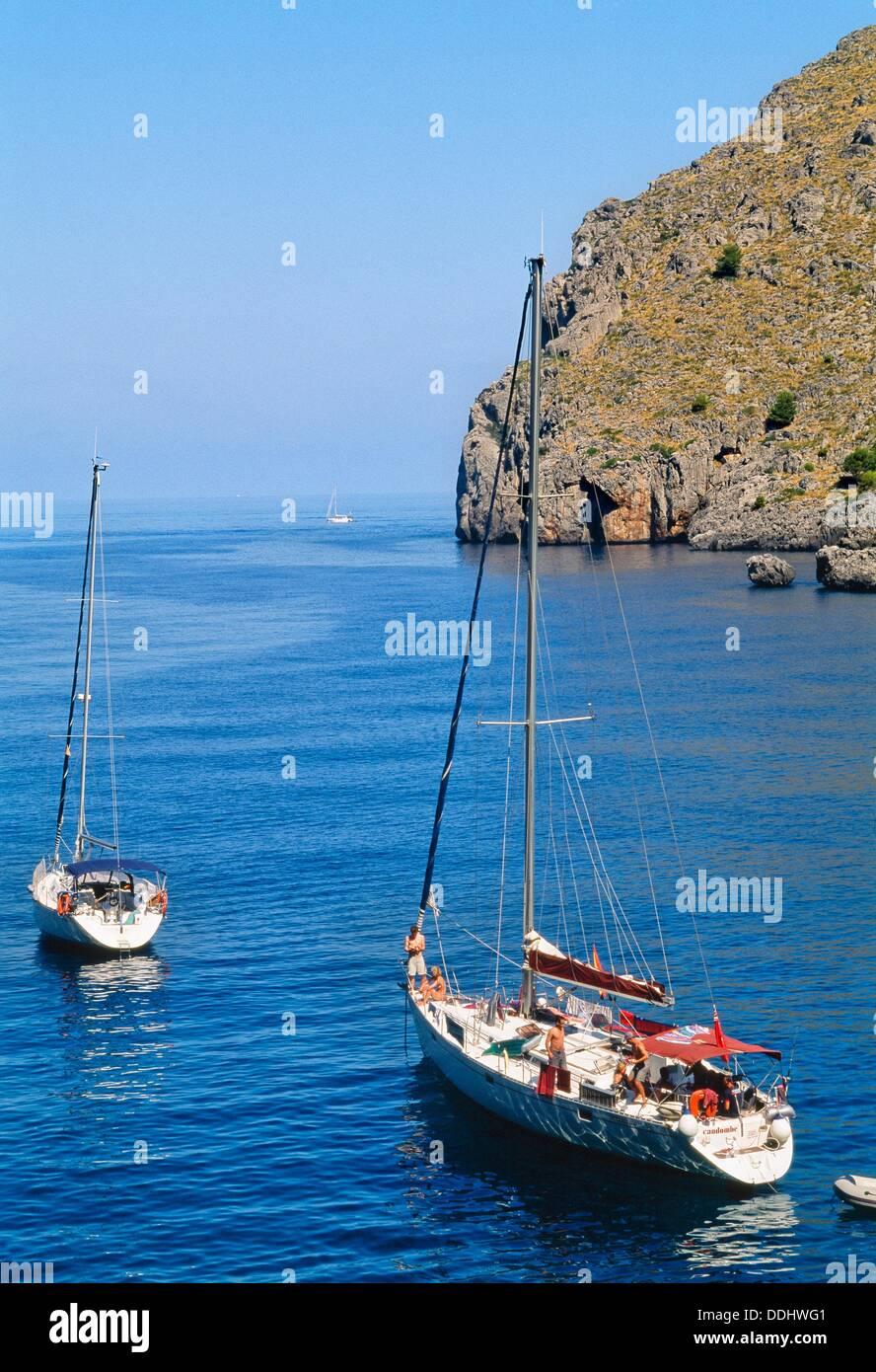 Boats in Sa Calobra, Majorca, Balearic Islands, Spain - Stock Image