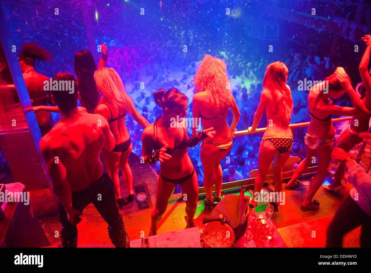 GoGo dancers. Foam Party.  Amnesia Discoteque. San Rafael. Ibiza. Balearic Islands. Spain. - Stock Image