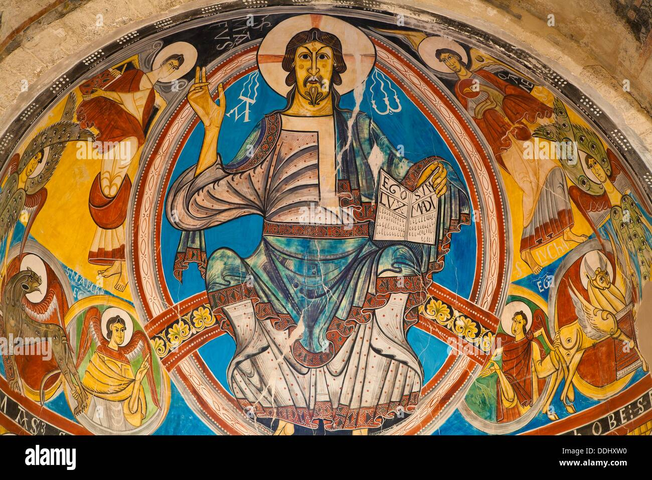 Pantocrator Christ in majesty Romanesque mural painting  Church of San Climent de Taüll  Valle de Boi  Alta Ribagorça, Pyrenees - Stock Image