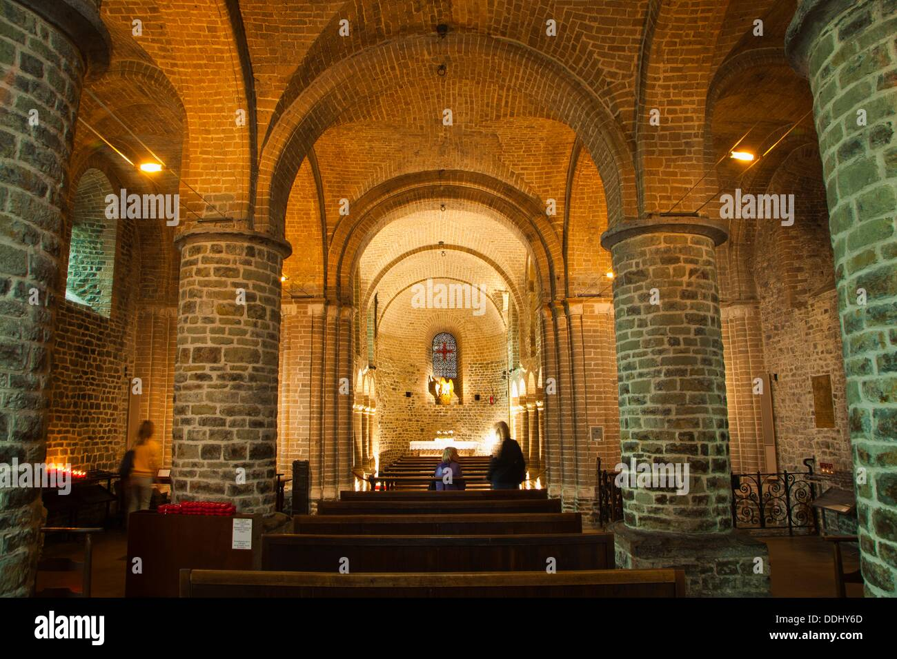 The lower chapel of the Basilican Church of the Holy Blood  XII Century  Burg Square  Bruges, Brugge, Flanders,Belgium, UNESCO - Stock Image