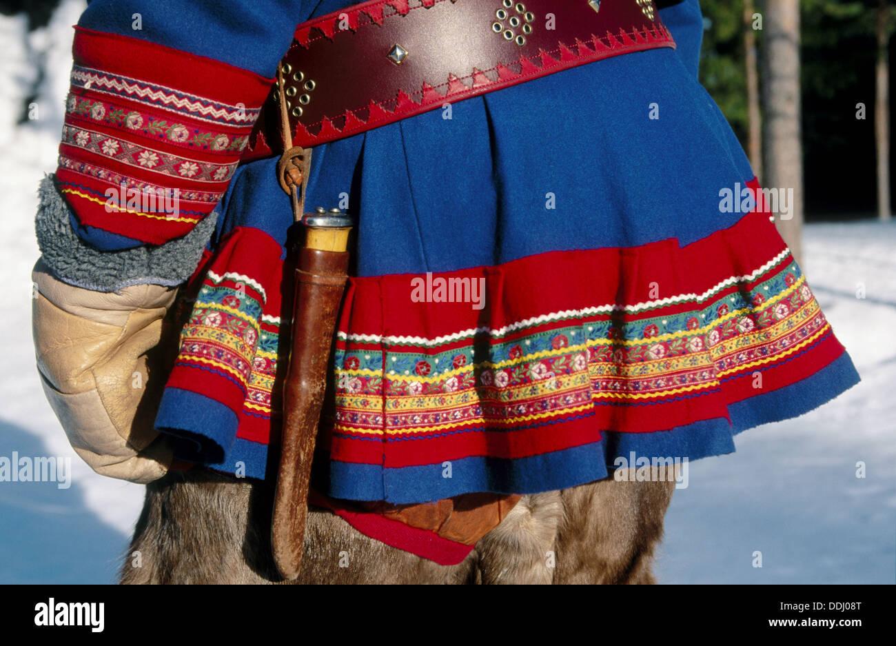 Laplander traditional costume. Luosto. Finland. - Stock Image
