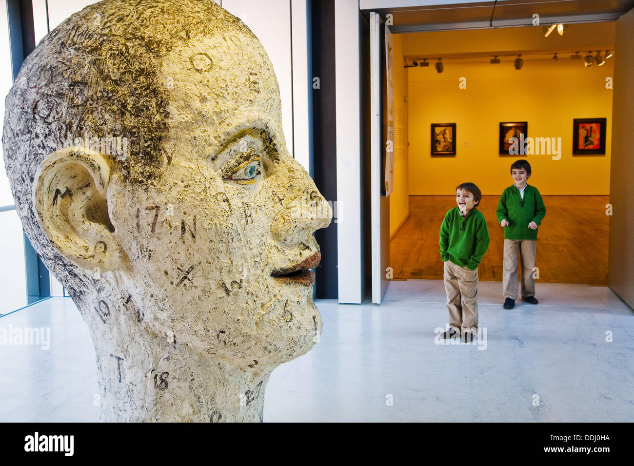 ´Child´s view´ sculpture (polyester resin and paint) by John Davies in the Museum of Fine Arts, Bilbao. Biscay, Basque Country, - Stock Image