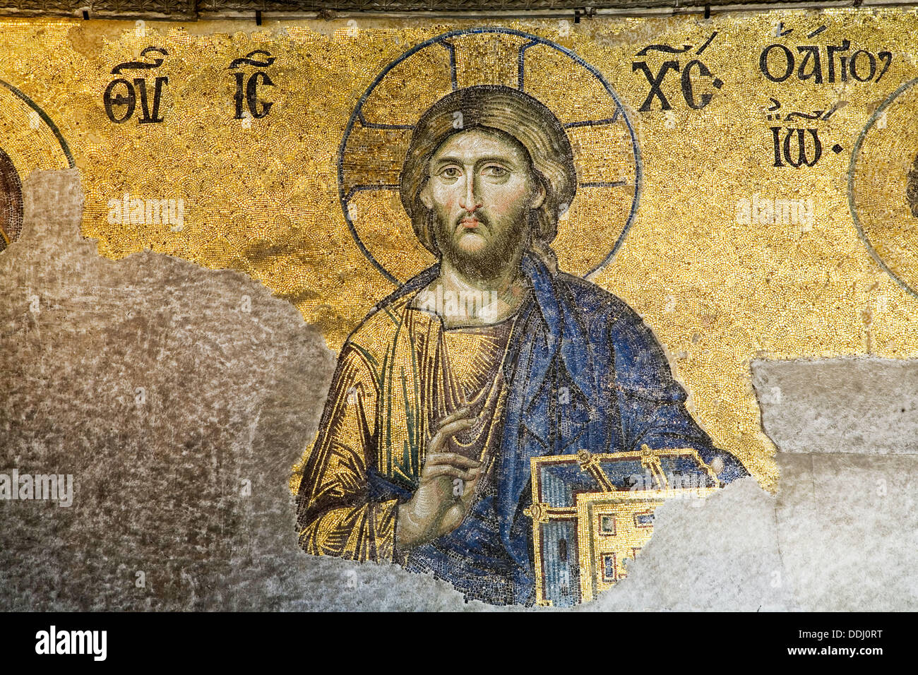 Detail of the Deesis mosaic: the Virgin Mary and John the Baptist implore the intercession of Christ Pantocrator for humanity - Stock Image