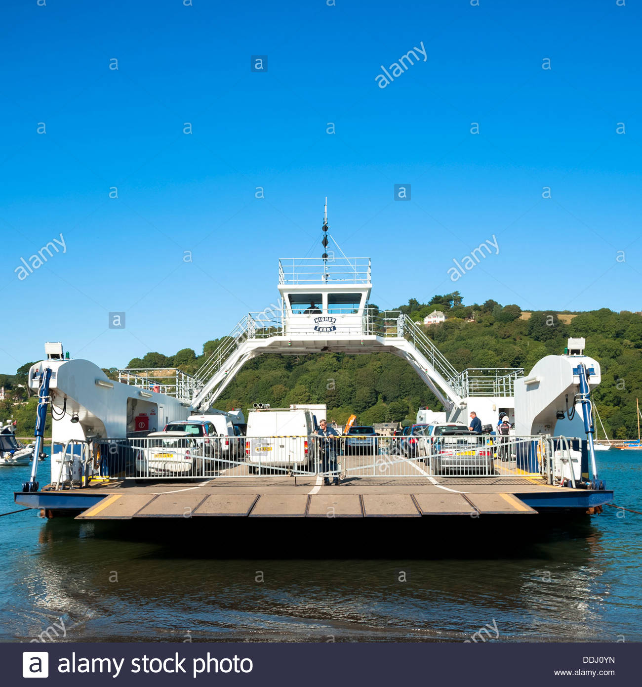 Car ferry on the river at Dartmouth, Devon, UK. Kingswear upper ferry. - Stock Image
