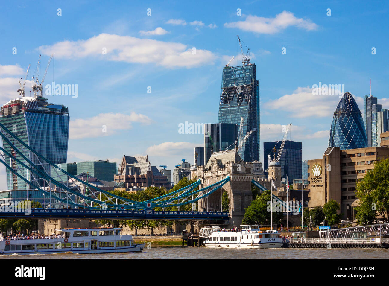 Tower Bridge and City of London from the Thames - Stock Image