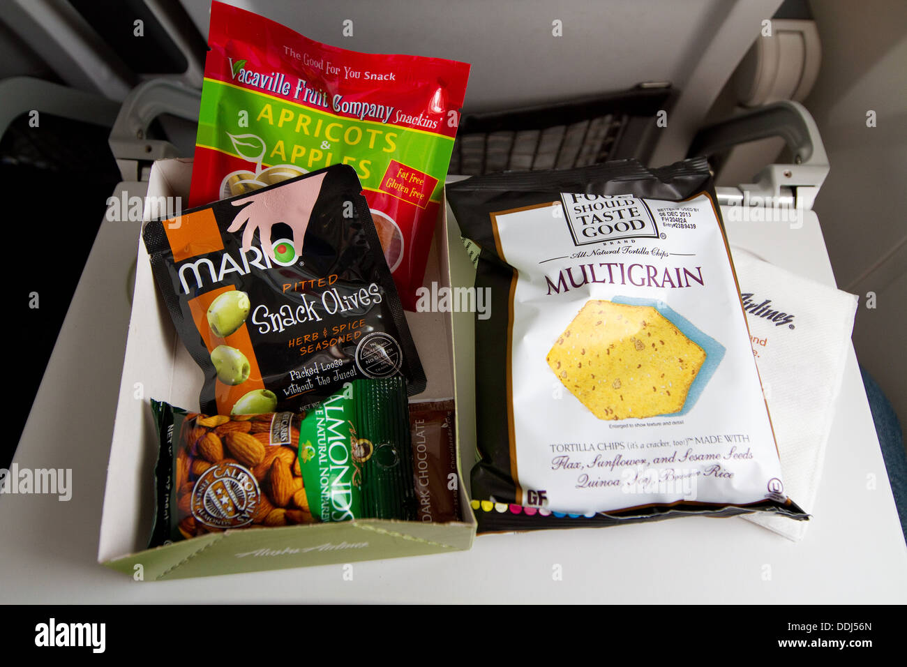 Gluten free airline food, airplane food, offered as an inflight meal. - Stock Image