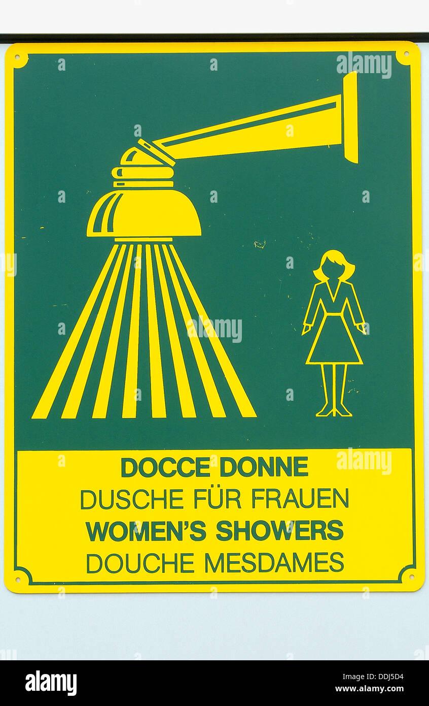 Women´s showers sign at camp site. Camping Fusina, Venezia. Veneto ...