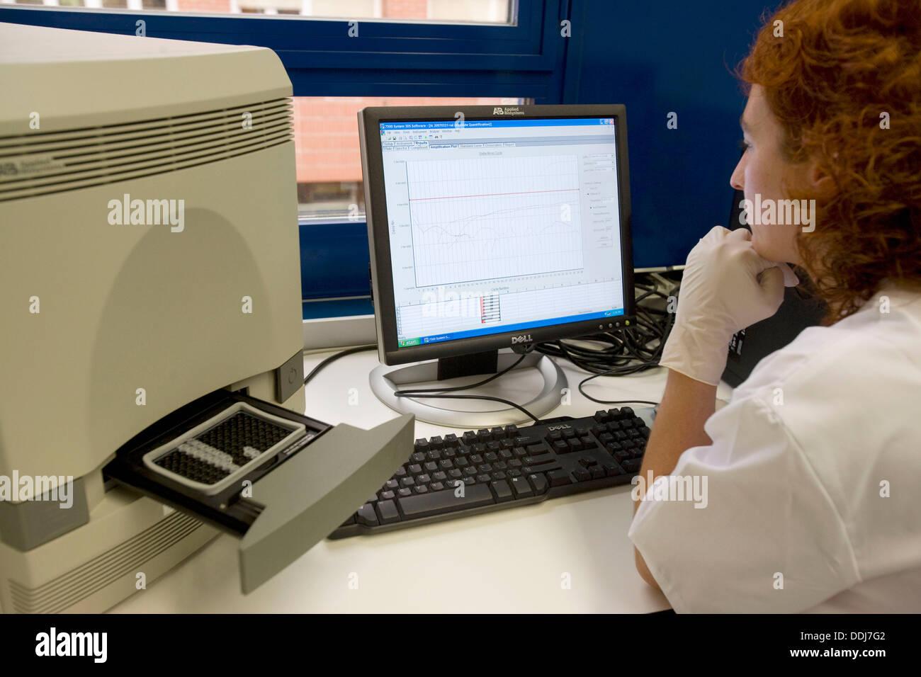 Real time PCR, Laboratory of Virology, Departamento de Producción y Sanidad Animal, Neiker Tecnalia, Instituto de Investigación - Stock Image