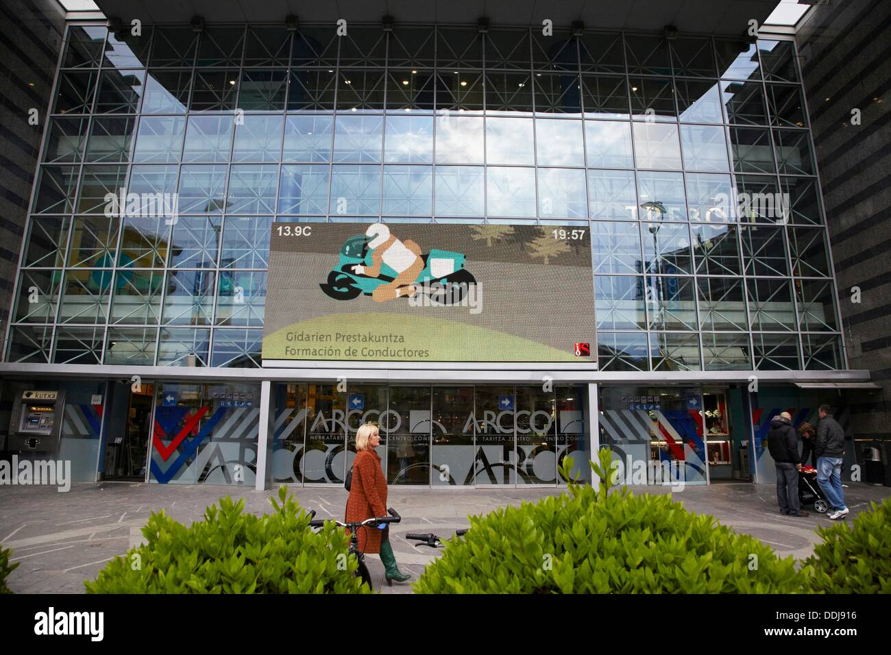 Giant LED TV screen, IPTV (Internet Protocol Television), shopping mall, San Sebastian, Guipuzcoa, Basque Country, Stock Photo